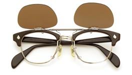 American Optical [vintage] 跳ね上げ式クリップオンサングラス 1960s AO鋲 チョコレート/シルバー 48-22 GM ダークブラウンレンズ 装着例_open