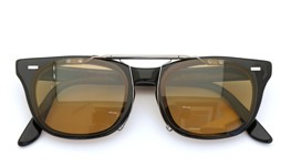 U.S.A. vintage FRANCE Vintage ポンメガネオリジナル跳ね上げ式クリップオンサングラス BLACK 48-20 ライトブラウンGM 装着例 close